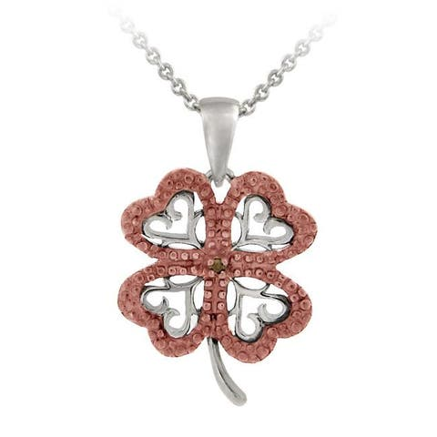 DB Designs Rose Gold over Silver Champagne Diamond Four-leaf Clover Necklace