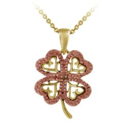 DB Designs 18k and Rose Gold over Silver Diamond Accent Four-leaf Clover Necklace