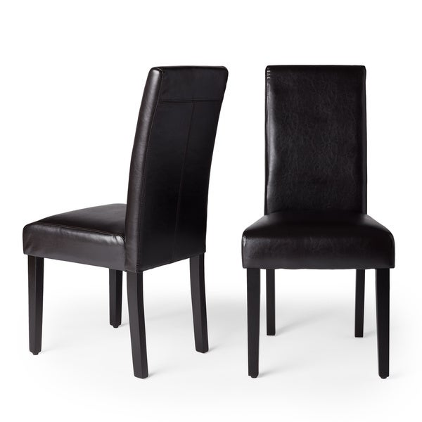 Villa Faux Leather Brown Dining Chairs (Set of 2)