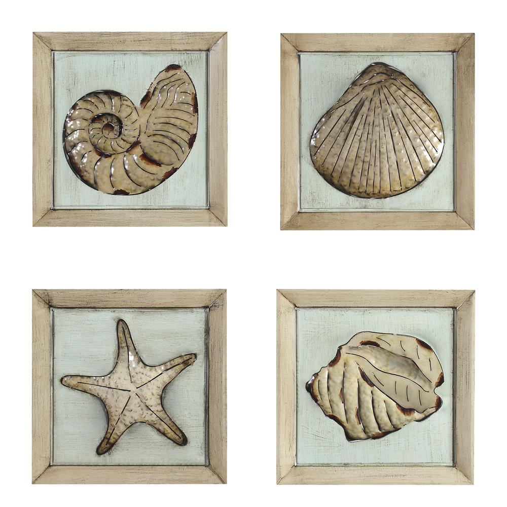 wall art 14in x 14in metal plaque of sea shells set. Black Bedroom Furniture Sets. Home Design Ideas