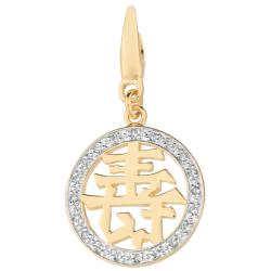 14k Gold Over Silver Diamond Accent Chinese Charm