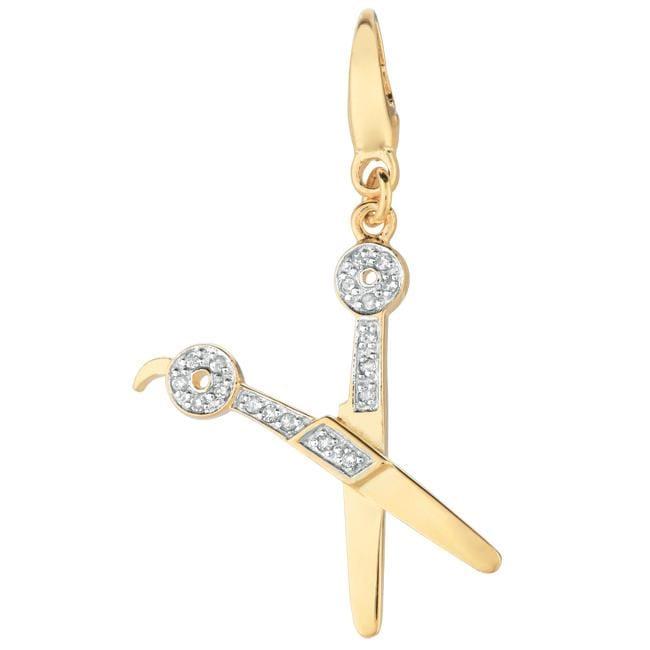 14k Gold Over Silver Diamond Accent Scissors Charm