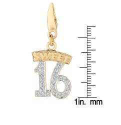 14k Gold Over Sterling Silver Diamond Accent Sweet 16 Charm