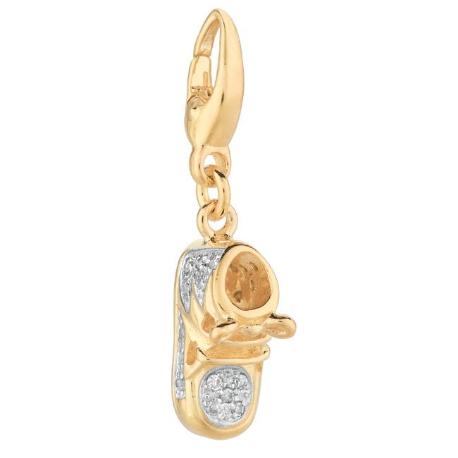 14k Gold Over Sterling Silver Diamond Accent Baby Bootie Charm
