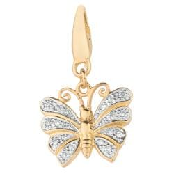 14k Gold Over Sterling Silver Diamond Accent Butterfly Charm