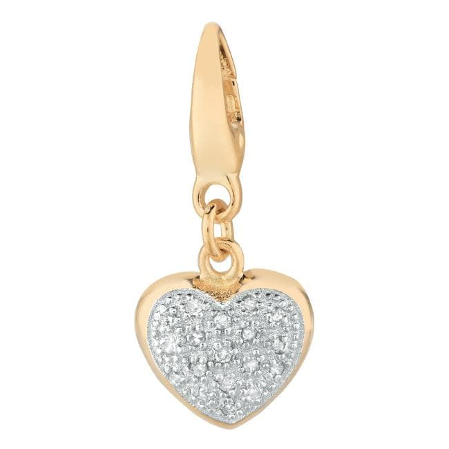 14k Gold over Silver 1/10ct TDW Diamond Heart Charm (H-I, I1-I2)