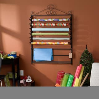 Harper Blvd Leal Black Wrapping Paper & Craft Storage Rack|https://ak1.ostkcdn.com/images/products/5801594/P13521838.jpg?impolicy=medium
