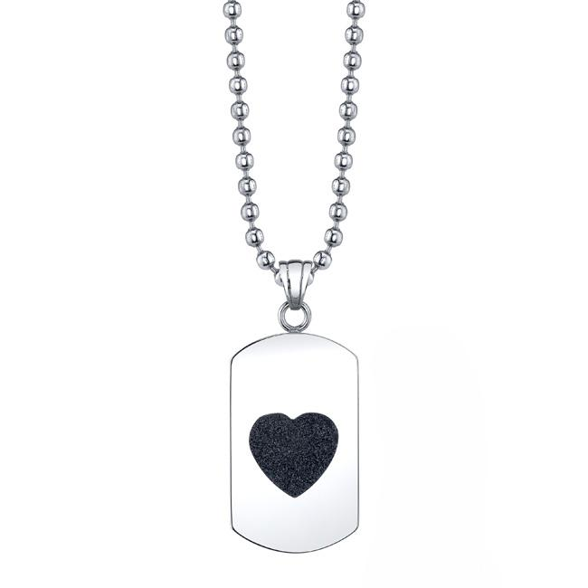 Stainless Steel Diamond-cut Black Heart Dog Tag Necklace