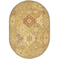 """Safavieh Handmade Bakhtieri Multi/ Beige Wool Rug - 4'6"""" x 6'6"""" oval"""