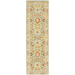 Safavieh Handmade Heritage Timeless Traditional Light Blue/ Ivory Wool Runner (2'3 x 8')