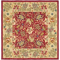 Safavieh Handmade Boitanical Red/ Ivory Wool Rug (6' Square)
