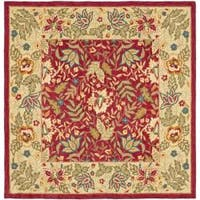 Safavieh Handmade Boitanical Red/ Ivory Wool Rug (6' Square)