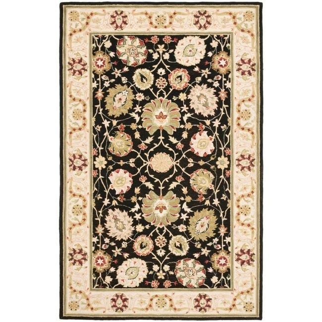 Safavieh Micro Hand-hooked Chelsea Mahal Black/ Beige Wool Rug (6' x 9')