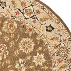 Safavieh Micro Hand-hooked Chelsea Kerman Brown Wool Rug (4' Round) - Thumbnail 1