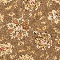 Safavieh Micro Hand-hooked Chelsea Kerman Brown Wool Rug (4' Round) - Thumbnail 2