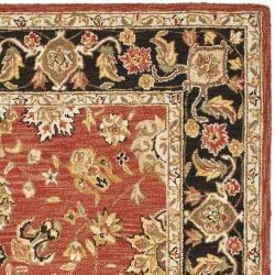Safavieh Micro Hand-hooked Chelsea Kerman Rose/ Black Wool Rug (8'9 x 11'9) - Thumbnail 1