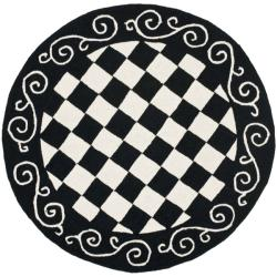 Safavieh Hand-hooked Diamond Black/ Ivory Wool Rug - 4' x 4' Round