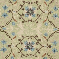Safavieh Hand-hooked Chelsea Styles Sage Green Wool Rug (5'6 Round) - Thumbnail 2
