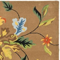"Safavieh Handmade Soho Brown New Zealand Wool Floral Rug (8'3"" x 11') - Thumbnail 1"