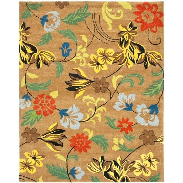 "Safavieh Handmade Soho Brown New Zealand Wool Floral Rug - 9'6"" x 13'6"""