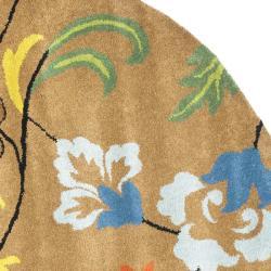 Safavieh Handmade Soho Brown New Zealand Wool Rug (8' Round) - Thumbnail 1