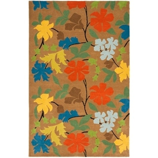 Safavieh Handmade Soho Tetje Floral N.Z. Wool Rug (76 x 96 - Brown/Multi)