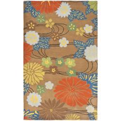 Safavieh Handmade Soho Brown Floral New Zealand Wool Rug (6' x 9')