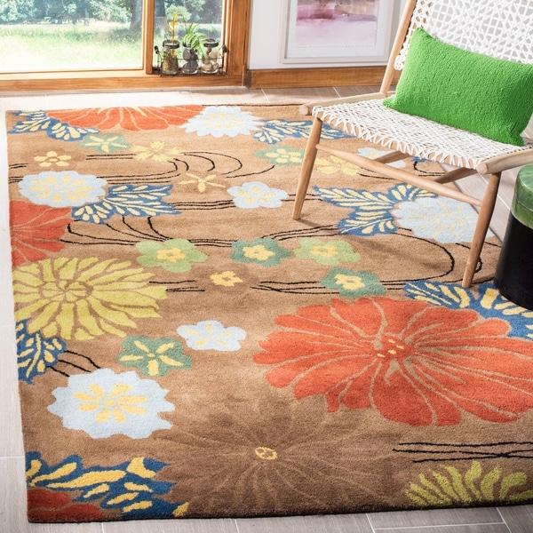 Safavieh Handmade Soho Brown Floral New Zealand Wool Rug - 6' x 9'