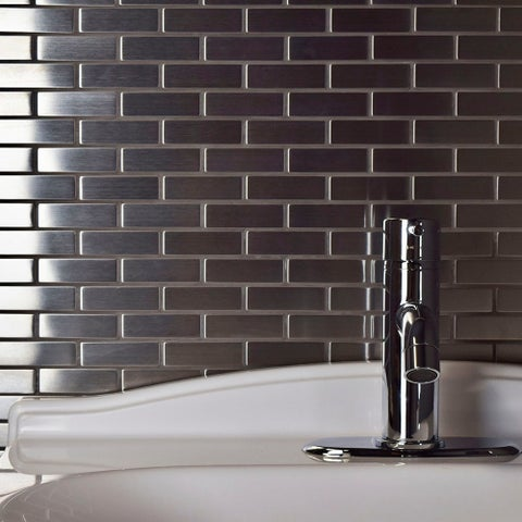 SomerTile 10.5x12.25-inch Anvil Subway Stainless Steel Over Ceramic Mosaic Wall Tile (10 tiles/9 sqft.)