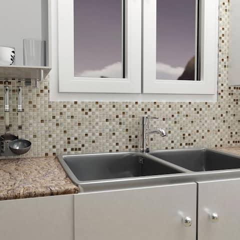 SomerTile 11.75x11.75-inch Reflections Mini York Stone and Glass Mosaic Wall Tile (10 tiles/9.79 sqft.)