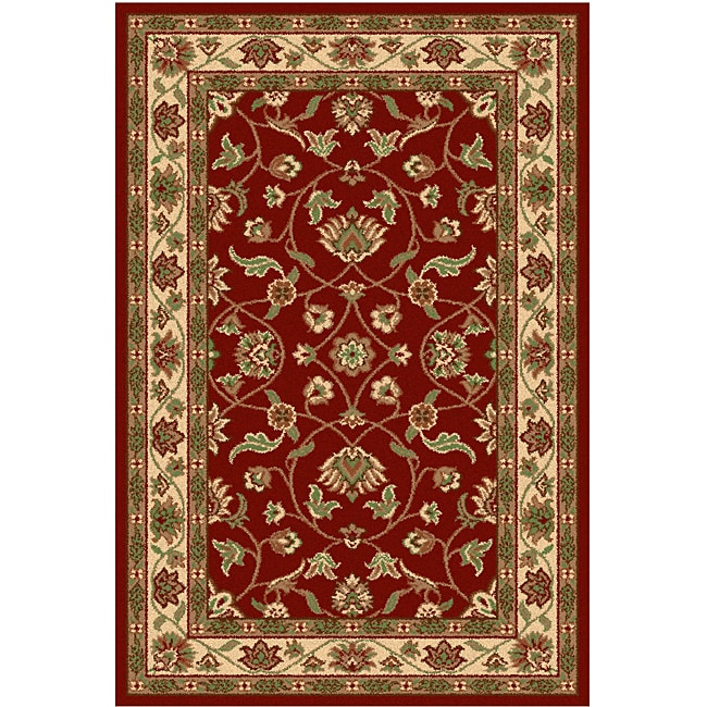 Oriental Melody Red Wool Rug (4' x 6')