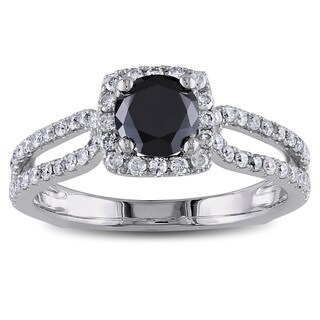 Miadora 14k Gold 1 1/5ct TDW Black and White Round Cut Diamond Ring