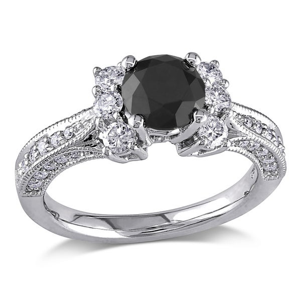 Miadora 14k Gold 1 5/8ct TDW Black and White Diamond Ring