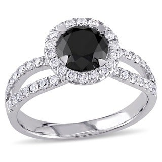 Miadora 14k Gold 1 1/2ct TDW Black and White Diamond Ring