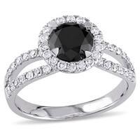Miadora 14k Gold 1 1/2ct TDW Black and White Diamond Ring