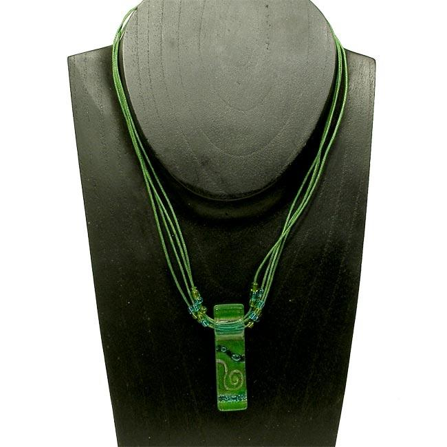 Cotton and Green Sea Fused Glass Rectangle Necklace (Chile)
