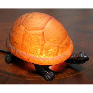 Warehouse of Tiffany Amber Turtle Accent Lamp