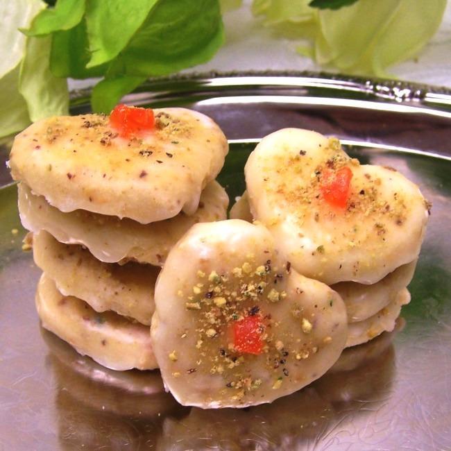 Oma Gisi's Glazed Orange Pistachio Heart Cookies (Box of 24)