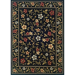 Indoor Black Floral Area Rug (7'10 x 10') - Thumbnail 0