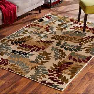 Indoor Ivory Leaf Motif Area Rug (3'2 x 5'5)