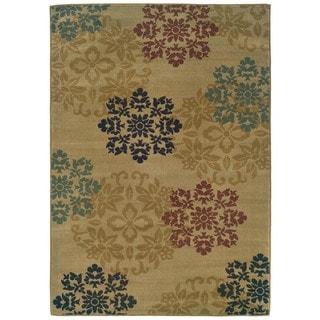 Indoor Beige Floral Motif Rug (5' x 7'3)