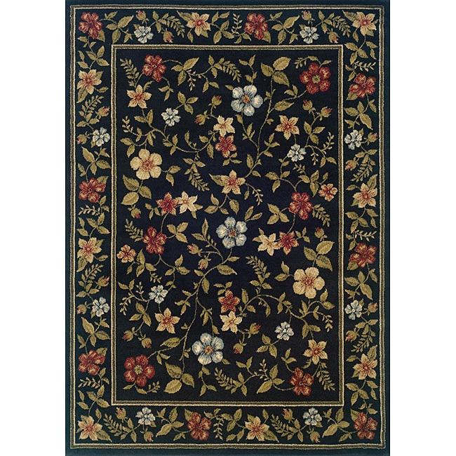 Indoor Black Floral Area Rug (5' x 7'3)