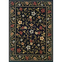 Indoor Black Floral Area Rug (5' x 7'3) - 5' x 7'3""