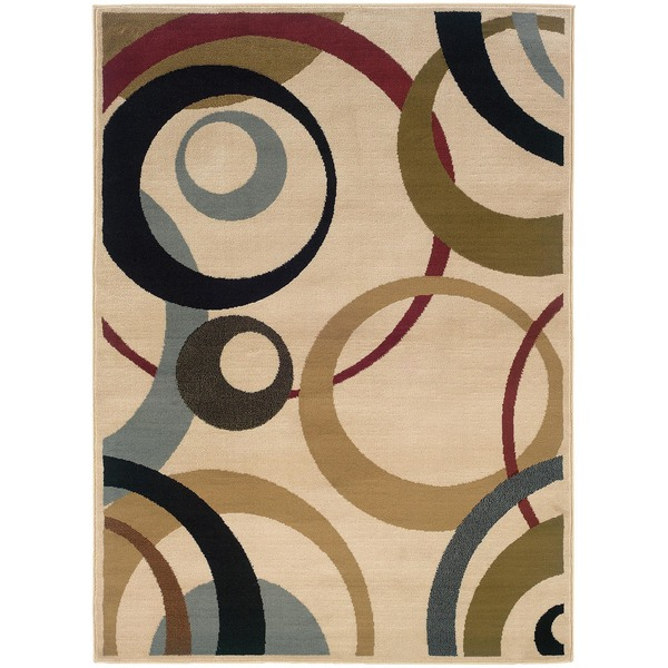 Ivory Geometric Cirlces Area Rug (3'2 x 5'5)