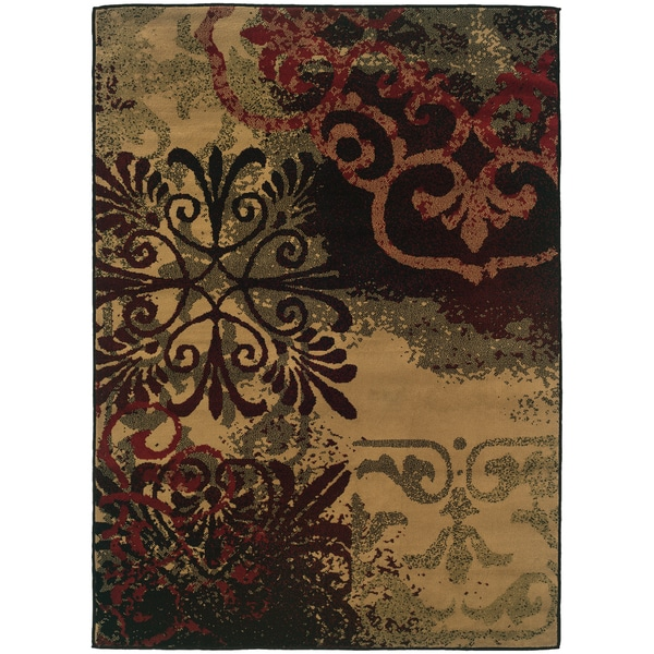 Indoor Gold Abstract Area Rug 7 10 X 10 Free Shipping