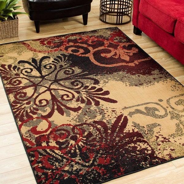 Indoor Gold Abstract Area Rug (7'10 x 10')