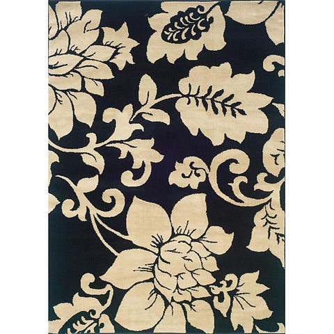 "Indoor Black/ Ivory Floral Area Rug (5' x 7'3) - 5' x 7'3"""