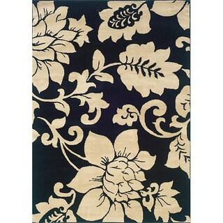 Indoor Black/ Ivory Floral Area Rug - 5' x 7'3