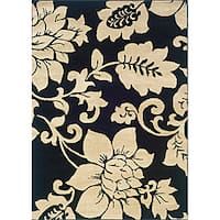 "Indoor Black/ Ivory Floral Area Rug (7'10 x 10') - 7'10"" x 10'"