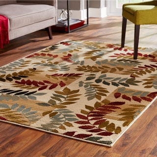 Indoor Ivory Floral Area Rug (5' x 7'3) - 5' x 7'3""